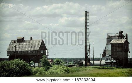 Grain silo. Countryside rural farm landscape. Agricultural concept.
