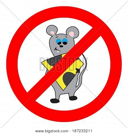 Prohibition of mouse and rodents. Pest control and vector rodent control illustration