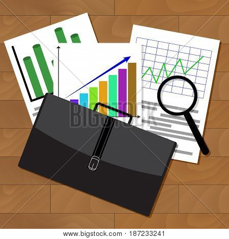 Analysis of stock market statistics. Stock exchange market graph investment and finance document. Vector illustration. Investment report document