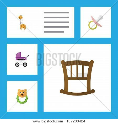 Flat Child Set Of Rattle, Nipple, Stroller And Other Vector Objects. Also Includes Rattle, Beanbag, Baby Elements.