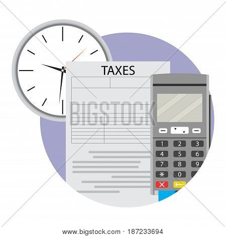 Payment tax icon via terminal. Taxes due icon finance tax vector illustration