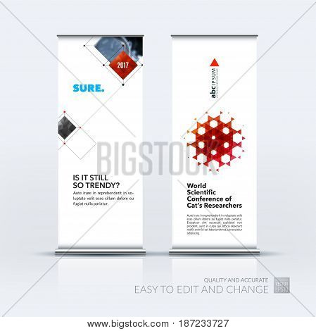 Abstract business vector set of modern roll Up Banner stand design template with red rectangular shapes, grid for tech, market, exhibition, show, expo, presentation, parade, events.