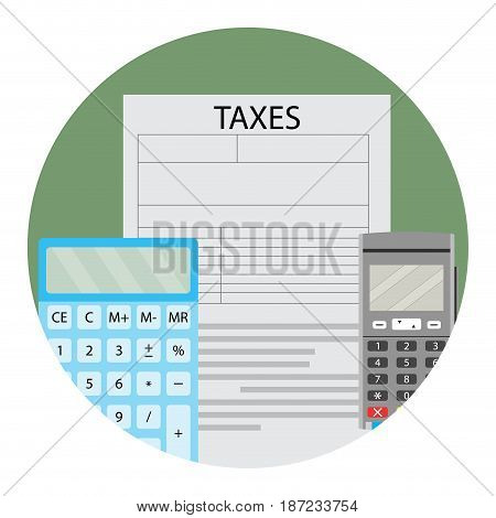 Annual tax calculation. Calculate vector tax icon illustration of tax service app icon