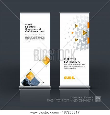 Abstract business vector set of modern roll Up Banner stand design template with yellow rectangular shapes, grid for tech, market, exhibition, show, expo, presentation, parade, events.