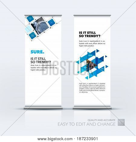 Abstract business vector set of modern roll Up Banner stand design template with blue rectangular shapes, grid for tech, market, exhibition, show, expo, presentation, parade, events.