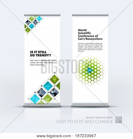 Abstract business vector set of modern roll Up Banner stand design template with green rectangular shapes, grid for tech, market, exhibition, show, expo, presentation, parade, events.