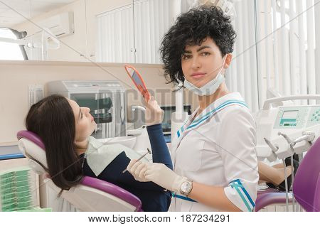 patient on reception at the dentist. dental treatment