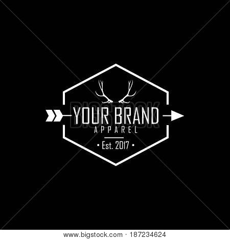 Apparel Logo, Clothing Brand Deer Antlers Logo Template Vector Design