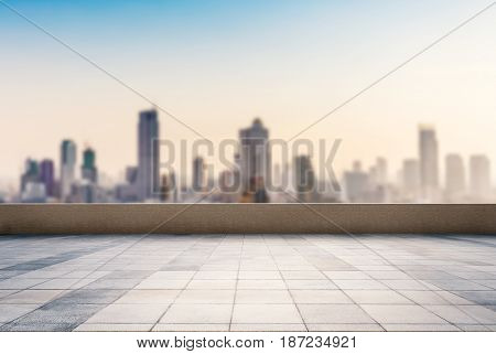 empty roof top balcony with cityscape background