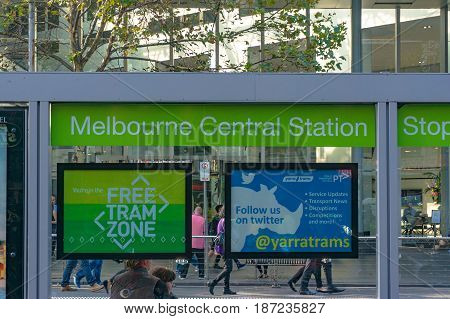 Melbourne Australia - April 4 2017: Melbourne Central Station tram stop in free tram zone in Melbourne CBD