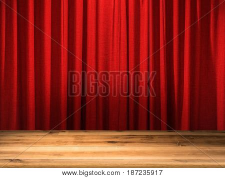 empty wooden floor with red curtain background