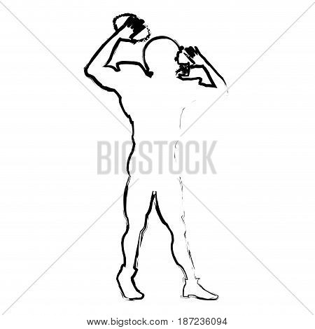 american footbal player quarterback helmet sketch vector illustration