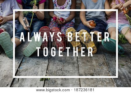 Diverse Group of Children Friendship Togetherness