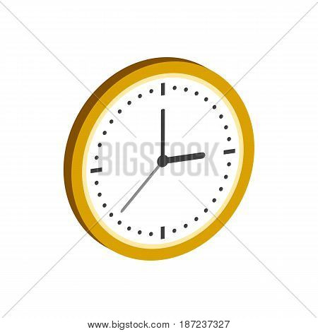 Clock Symbol. Flat Isometric Icon Or Logo. 3D Style Pictogram For Web Design, Ui, Mobile App, Infogr
