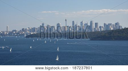 Sydney Harbour and CBD city view from North Head (Sydney NSW Australia).