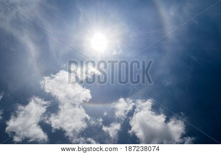 Clear blue sky and white clouds with sunlight effect in summer.