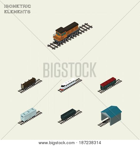 Isometric Wagon Set Of Lumber Shipping, Railroad Carriage, Depot And Other Vector Objects. Also Includes Speed, Wood, Train Elements.