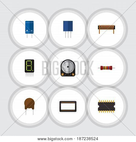 Flat Electronics Set Of Display, Hdd, Receptacle And Other Vector Objects. Also Includes Electronics, Bobbin, Processor Elements.