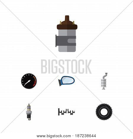 Flat Parts Set Of Absorber, Tachometr, Auto Component And Other Vector Objects. Also Includes Mirror, Engine, Crankshaft Elements.