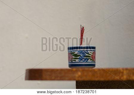 burned incenses are in the incense burner