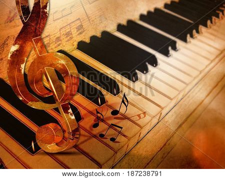 Piano keys vintage - classic music background