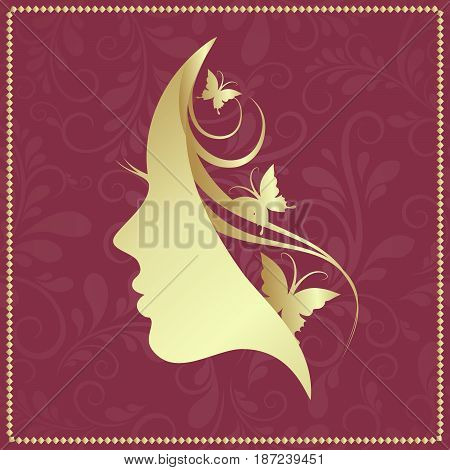 Profile of a girl with butterflies, vector illustration