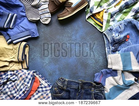 Fashion Background With Set Of Baby Clothes.top View With Copy Space.