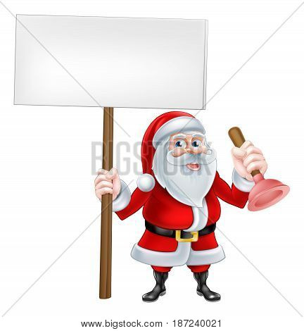 A Christmas cartoon illustration of Santa Claus holding a sign and a toilet or sink plunger