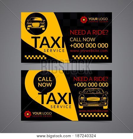 Taxi pickup service business card layout template. Create your own business cards. Mockup Vector illustration.