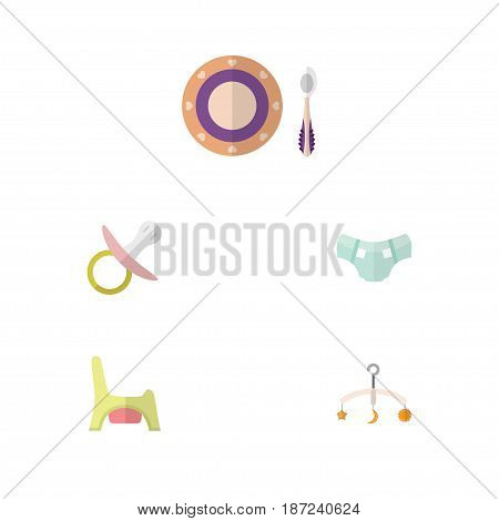 Flat Child Set Of Baby Plate, Nipple, Mobile And Other Vector Objects. Also Includes Dish, Nipple, Nappy Elements.