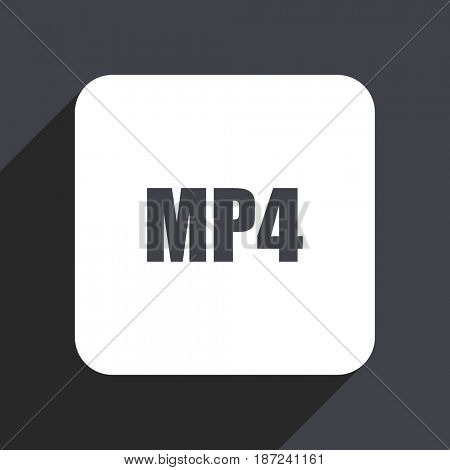 MP4 flat design web icon isolated on gray background