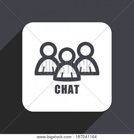 Chat flat design web icon isolated on gray background
