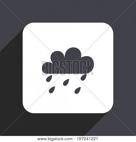 Rain flat design web icon isolated on gray background