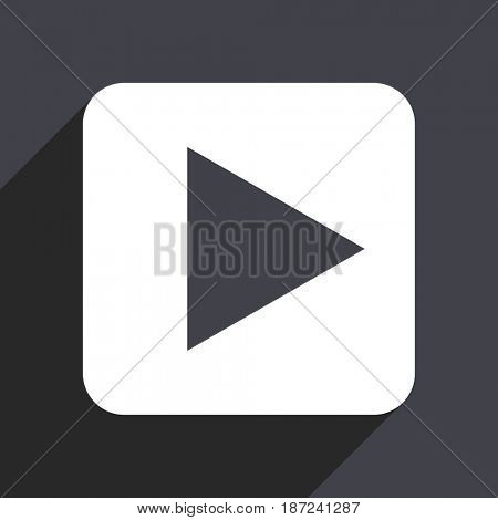 Play flat design web icon isolated on gray background