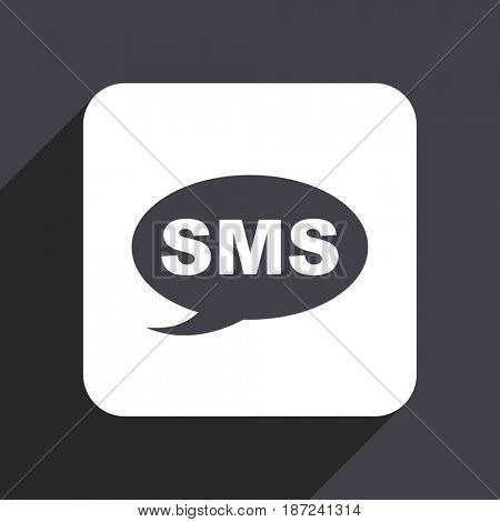 Sms flat design web icon isolated on gray background