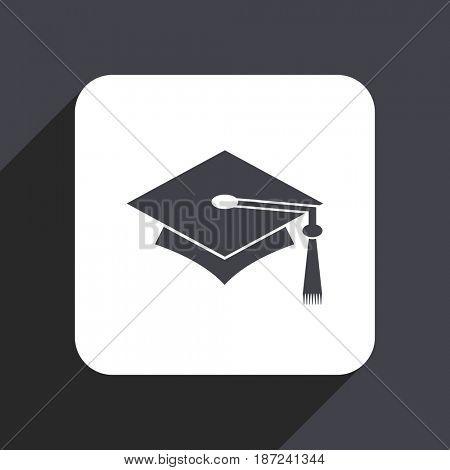 Education flat design web icon isolated on gray background