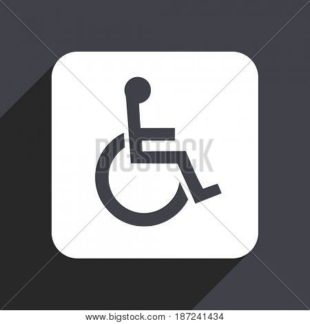 Wheelchair flat design web icon isolated on gray background