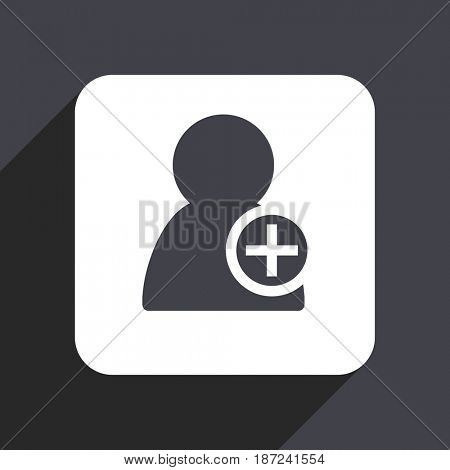 Add contact flat design web icon isolated on gray background