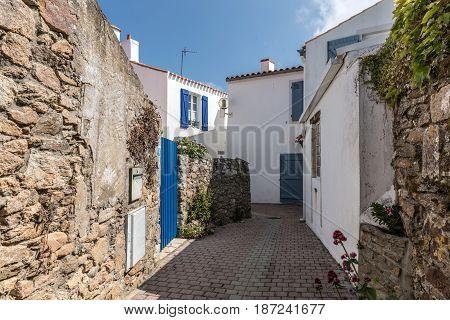Picturesque Hirondelle street in la Chaume (Les Sables d'Olonne, France)