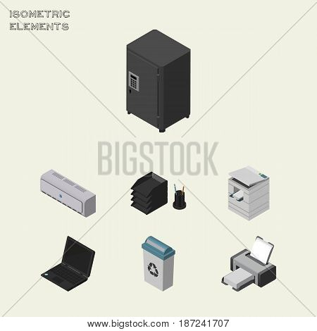 Isometric Office Set Of Printing Machine, Scanner, Laptop And Other Vector Objects. Also Includes Photocopier, Locked, Bin Elements.