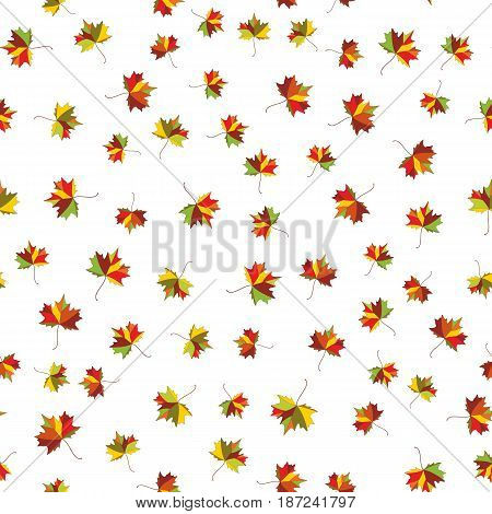 Autumn maple colorful leave. Welcome to school vector Seamless pattern for cushion pillow bandanna kerchief shawl fabric print. Texture for clothes and bedclothes