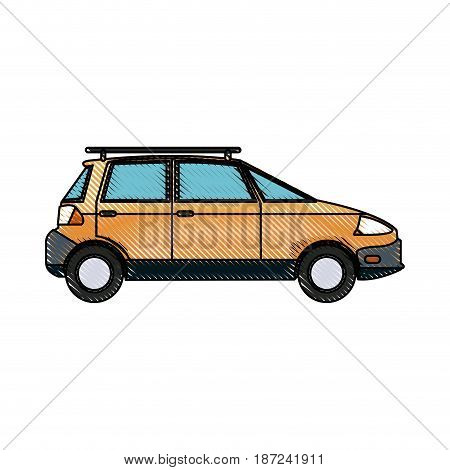 drawing yellow car vehicle transport ecology concept vector illustration