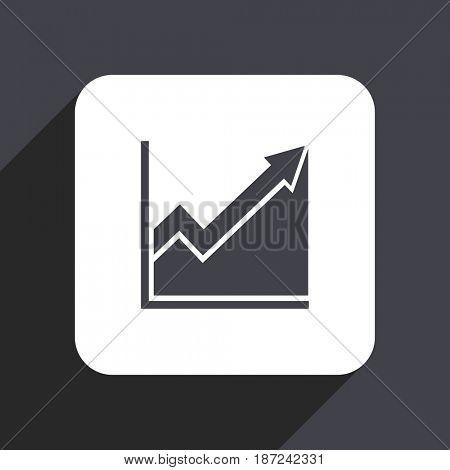 Histogram flat design web icon isolated on gray background