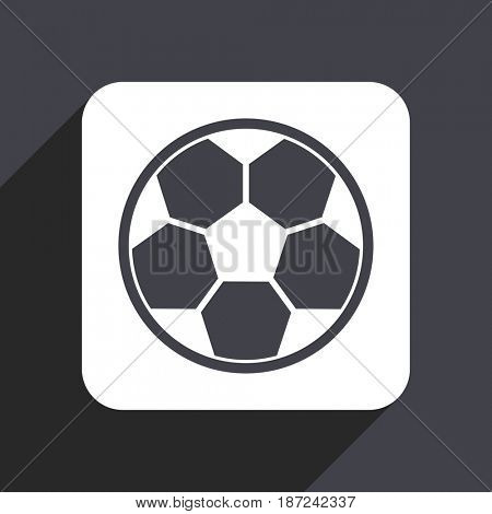 Soccer flat design web icon isolated on gray background