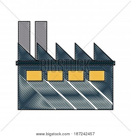 drawing building industrial business ecology vector illustration