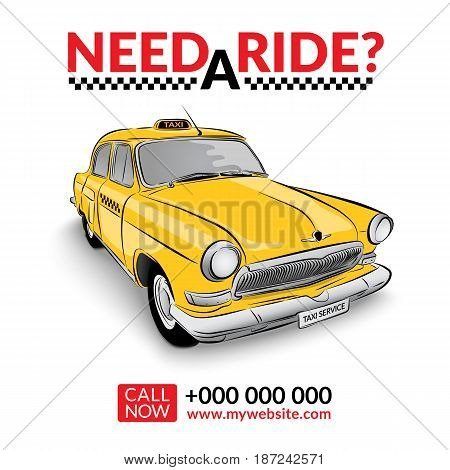 Taxi pickup service. Yellow taxi car vector illustration.