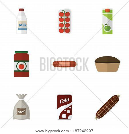 Flat Eating Set Of Tart, Fizzy Drink, Bottle And Other Vector Objects. Also Includes Bottle, Tart, Pie Elements.