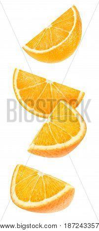 Isolated Falling Orange Pieces