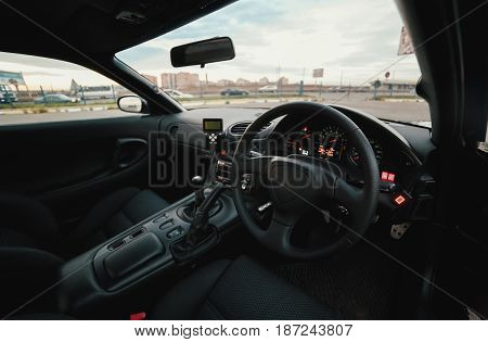 cab  of classic japan sport car  on street