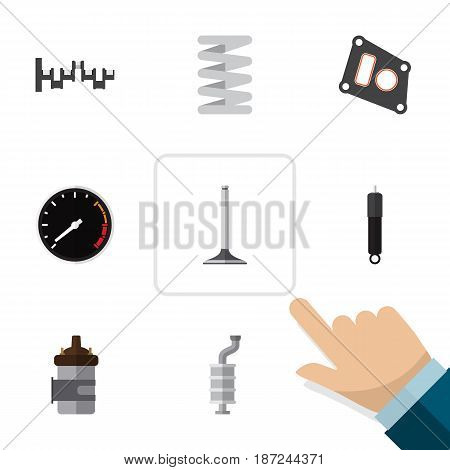 Flat Component Set Of Car Segment, Absorber, Gasket And Other Vector Objects. Also Includes Silencer, Segment, Shafts Elements.